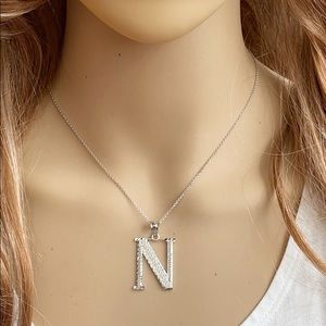 Sterling Silver Medium Initial Letter N Necklace